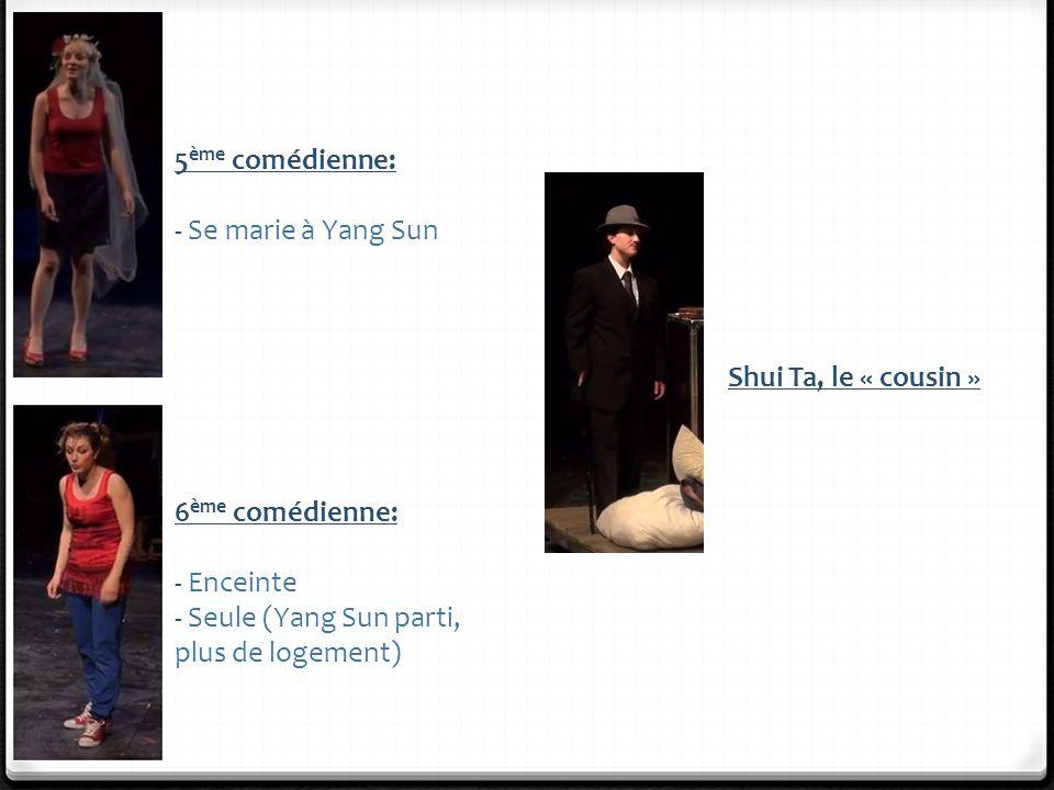 5 ème comédienne: - Se marie à Yang Sun 6 ème comédienne: - Enceinte - Seule (Yang Sun parti, plus de logement) Shui Ta, le « cousin »
