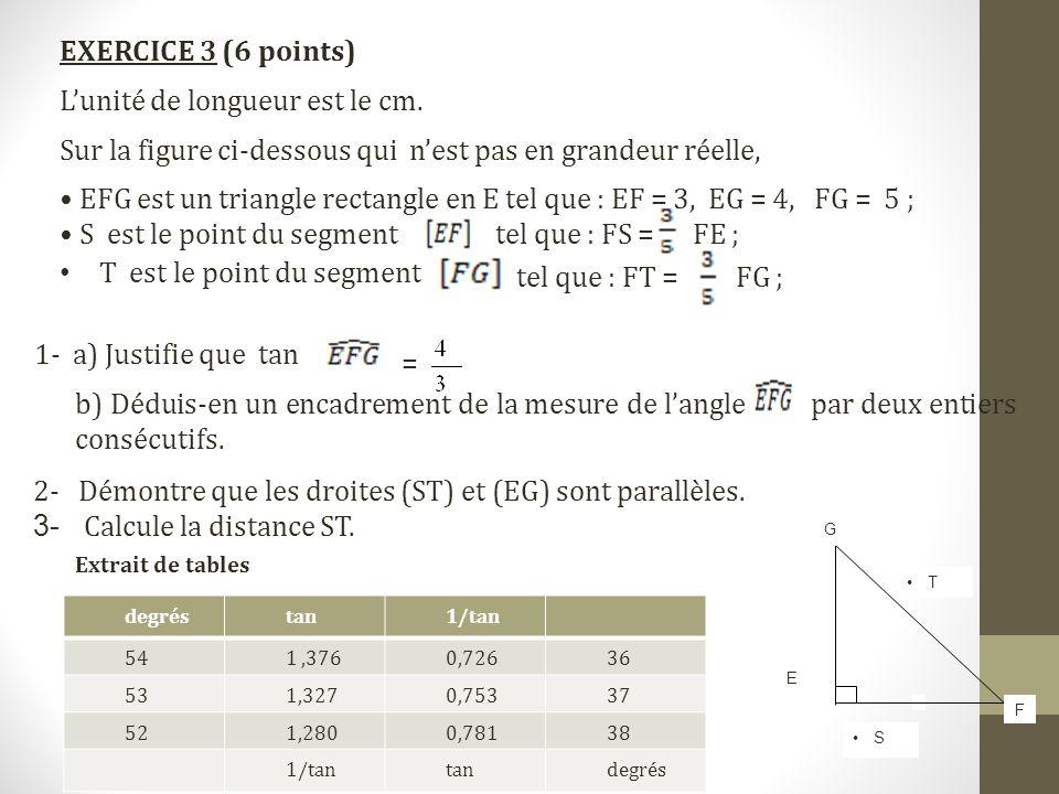 E •S•S •T•T G F EXERCICE 3 (6 points) L'unité de longueur est le cm. Sur la figure ci-dessous qui n'est pas en grandeur réelle, • EFG est un triangle