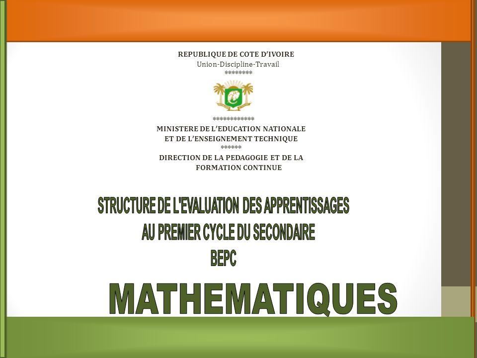 Le sujet de Mathématique à l'examen du BEPC est conçu de façon à couvrir toutes les compétences déclinées à partir du profil de sortie des élèves à la fin du 1 e cycle de l'enseignement secondaire.