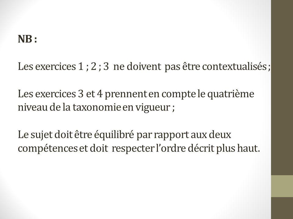 NB : Les exercices 1 ; 2 ; 3 ne doivent pas être contextualisés ; Les exercices 3 et 4 prennent en compte le quatrième niveau de la taxonomie en vigue