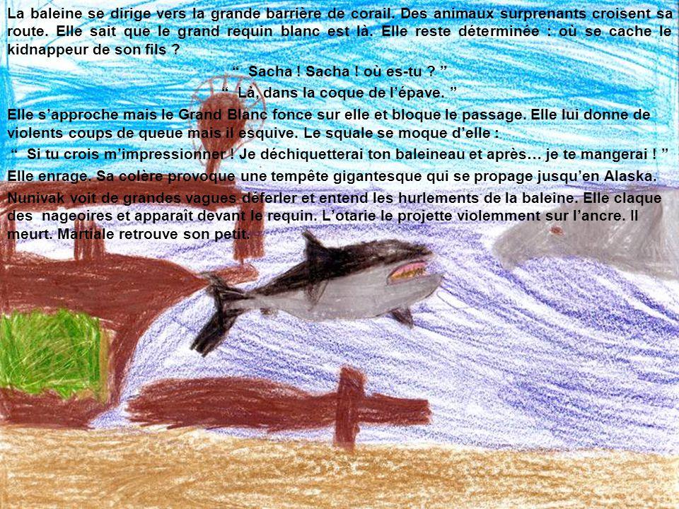 La baleine se dirige vers la grande barrière de corail. Des animaux surprenants croisent sa route. Elle sait que le grand requin blanc est là. Elle re