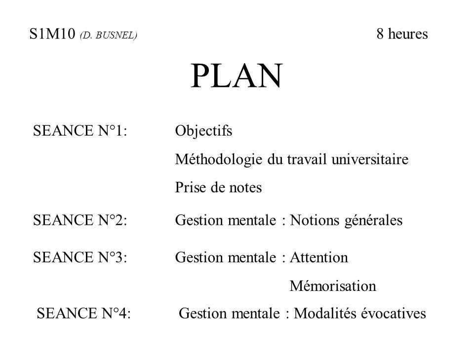 PLAN S1M10 (D. BUSNEL) 8 heures SEANCE N°1: Objectifs Méthodologie du travail universitaire Prise de notes SEANCE N°2: Gestion mentale : Notions génér