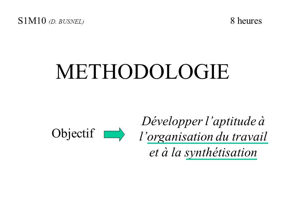 METHODOLOGIE Objectif Développer l'aptitude à l'organisation du travail et à la synthétisation S1M10 (D. BUSNEL) 8 heures