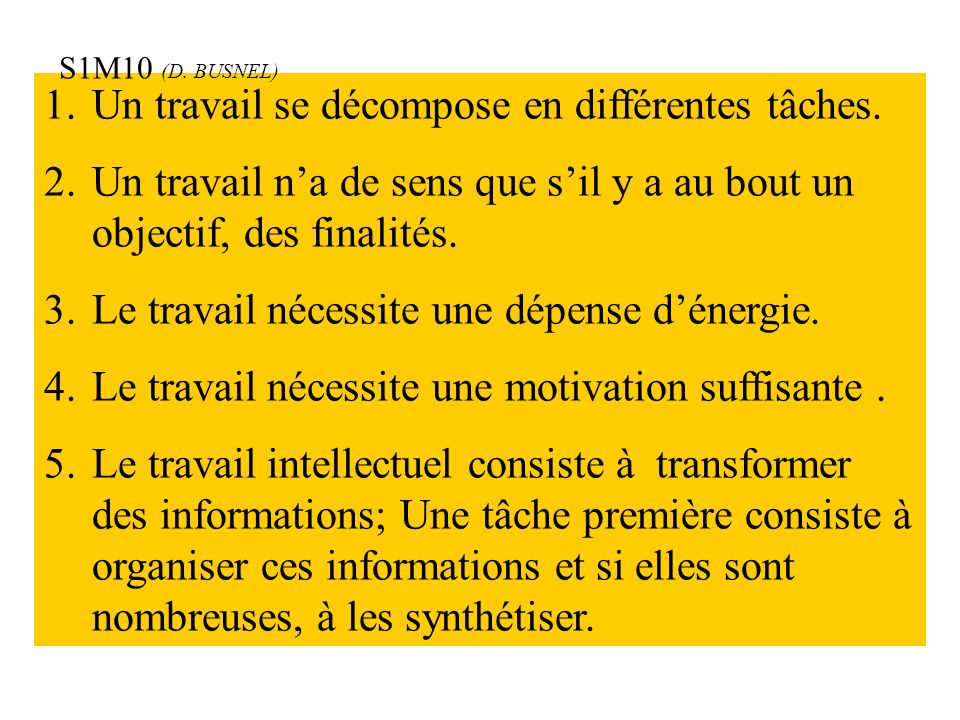 ANALYSE CONTEXTUELLE DU TRAVAIL Sources d'informations Objectif Projet Conditions et contraintes Ensemble de tâches TRAVAIL Motivation S1M10 (D.