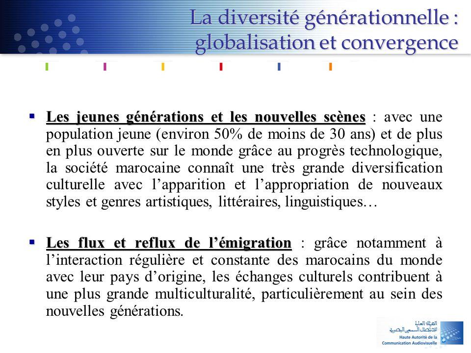 La diversité générationnelle : globalisation et convergence  Les jeunes générations et les nouvelles scènes  Les jeunes générations et les nouvelles