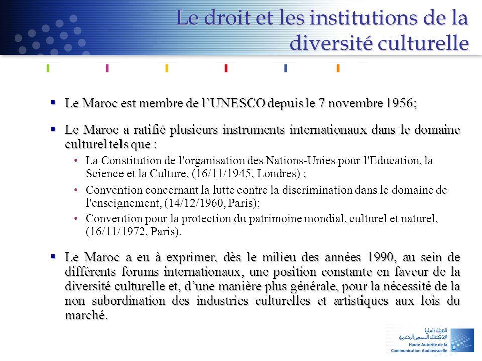 Le droit et les institutions de la diversité culturelle  Le Maroc est membre de l'UNESCO depuis le 7 novembre 1956;  Le Maroc a ratifié plusieurs in