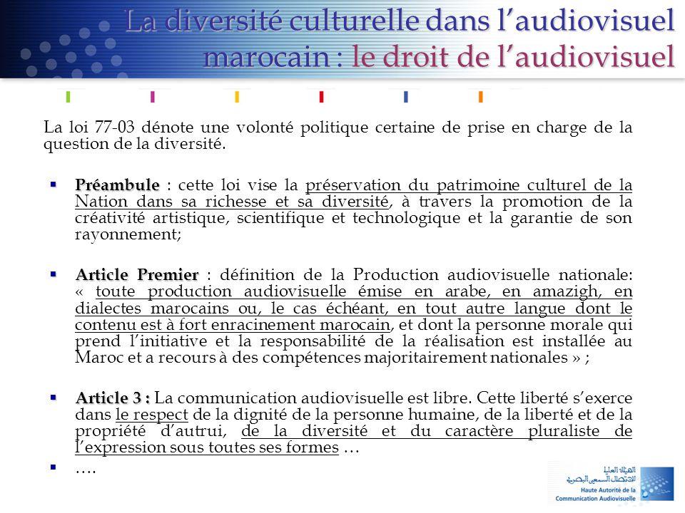 La diversité culturelle dans l'audiovisuel marocain : le droit de l'audiovisuel La loi 77-03 dénote une volonté politique certaine de prise en charge