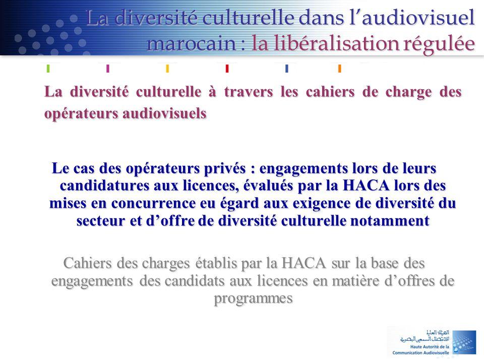 La diversité culturelle dans l'audiovisuel marocain : la libéralisation régulée La diversité culturelle à travers les cahiers de charge des opérateurs