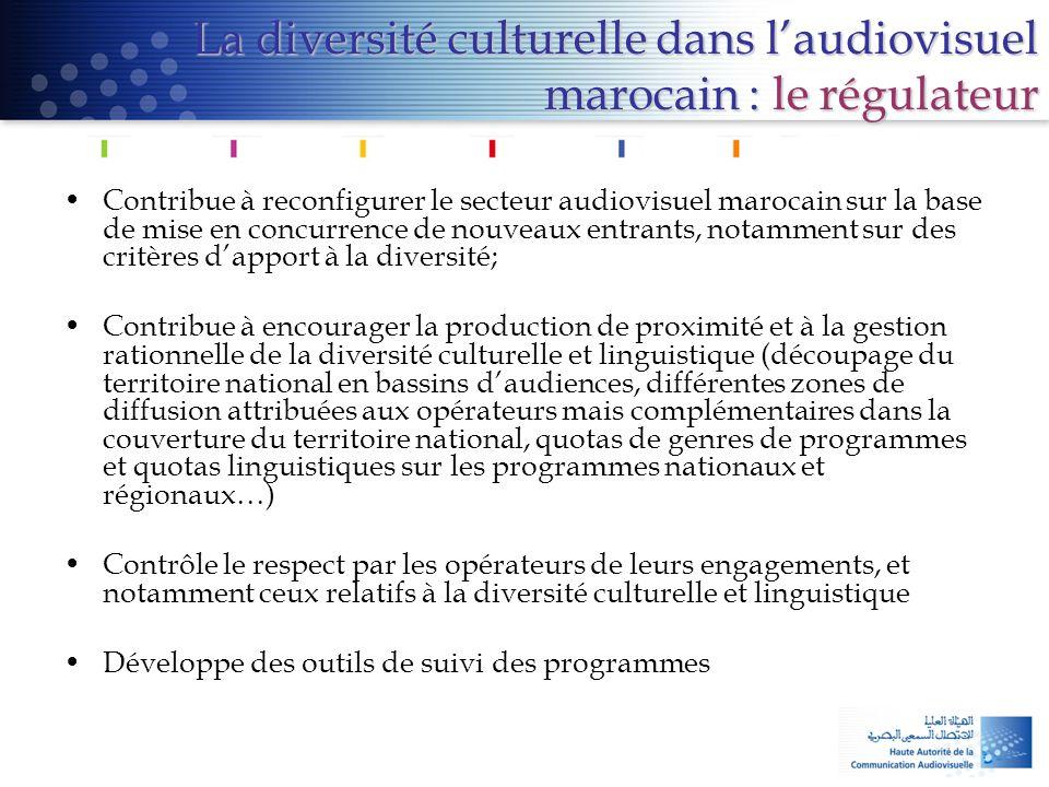 La diversité culturelle dans l'audiovisuel marocain : le régulateur •Contribue à reconfigurer le secteur audiovisuel marocain sur la base de mise en c