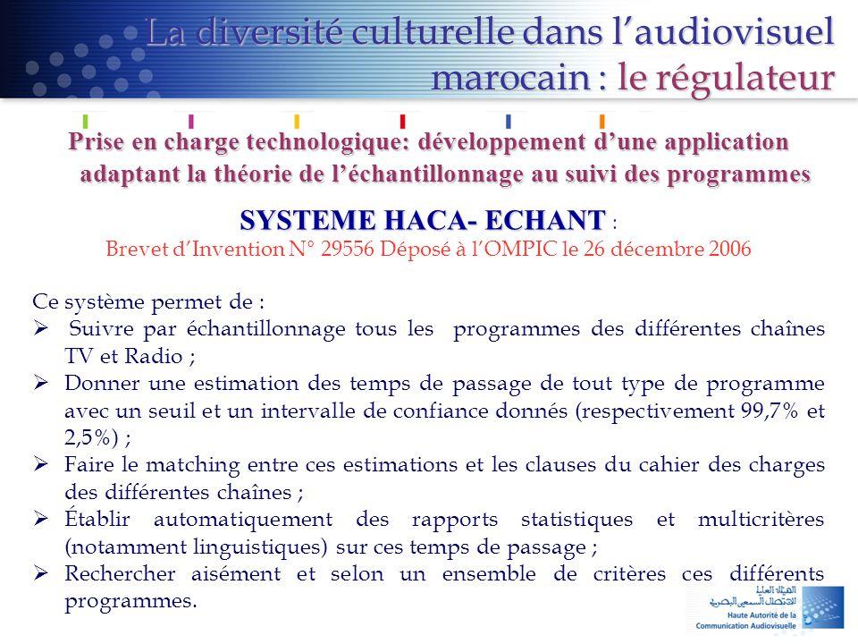 La diversité culturelle dans l'audiovisuel marocain : le régulateur Prise en charge technologique: développement d'une application adaptant la théorie