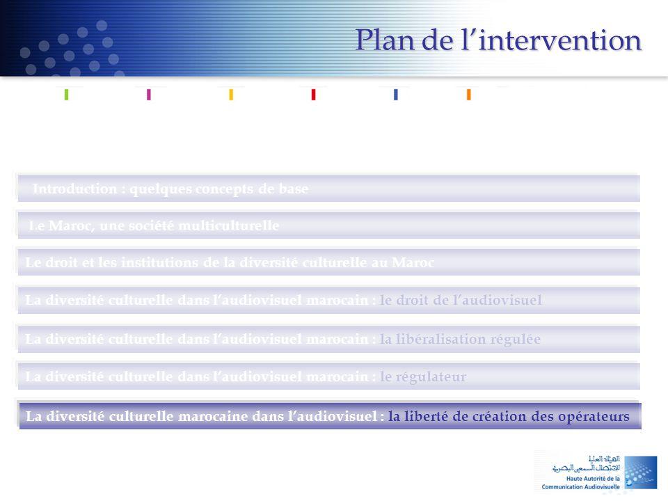 Introduction : quelques concepts de base Le Maroc, une société multiculturelle Le droit et les institutions de la diversité culturelle au Maroc La div