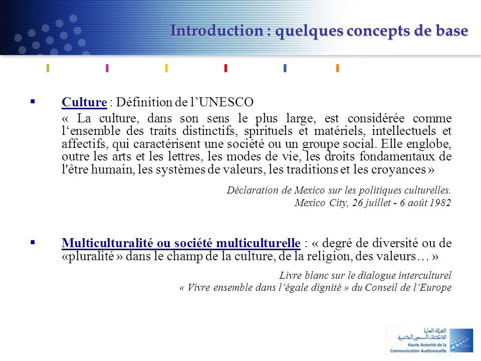 Introduction : quelques concepts de base  Culture : Définition de l'UNESCO « La culture, dans son sens le plus large, est considérée comme l'ensemble