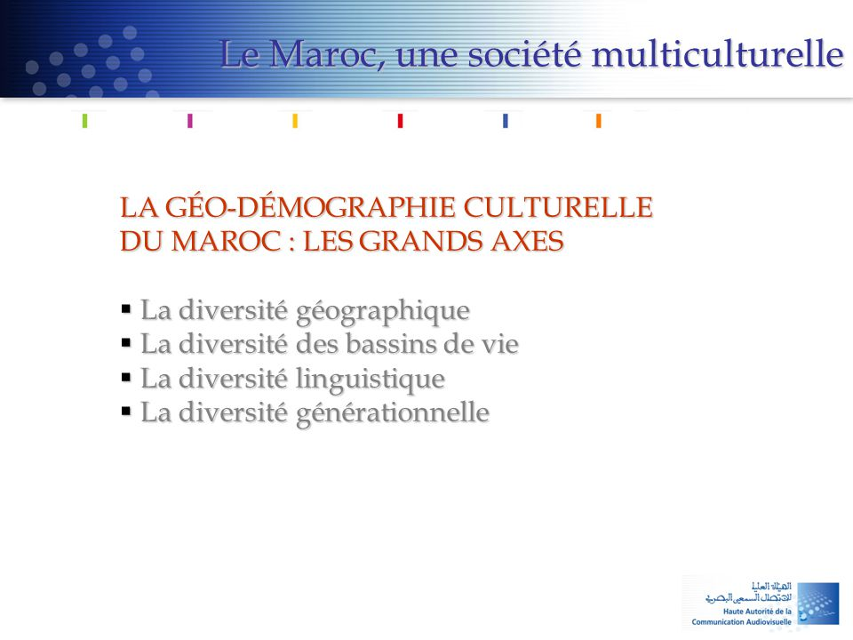 LA GÉO-DÉMOGRAPHIE CULTURELLE DU MAROC : LES GRANDS AXES  La diversité géographique  La diversité des bassins de vie  La diversité linguistique  L