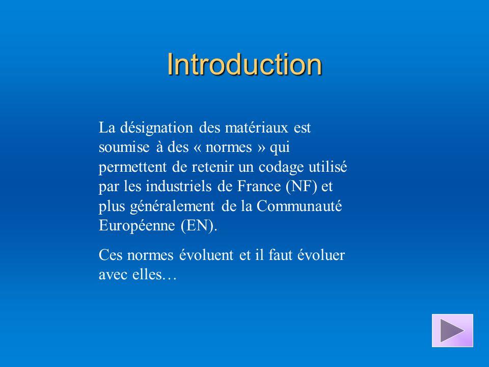 Introduction La désignation des matériaux est soumise à des « normes » qui permettent de retenir un codage utilisé par les industriels de France (NF) et plus généralement de la Communauté Européenne (EN).