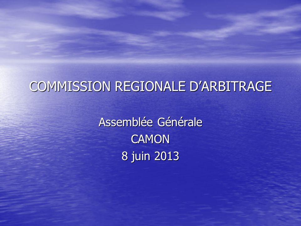 COMMISSION REGIONALE D'ARBITRAGE Assemblée Générale CAMON 8 juin 2013