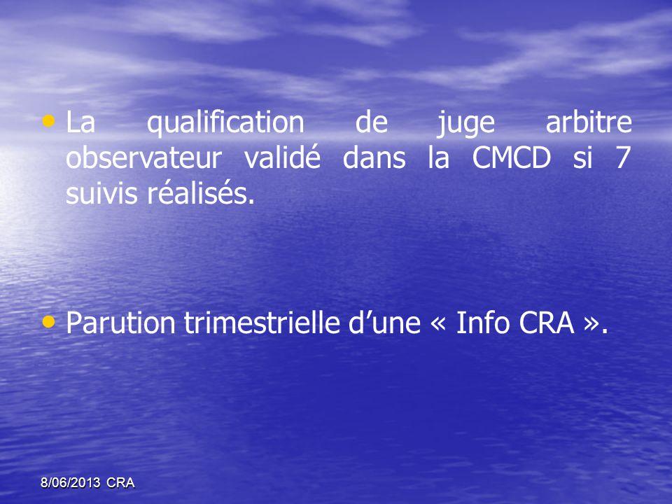 • • La qualification de juge arbitre observateur validé dans la CMCD si 7 suivis réalisés.