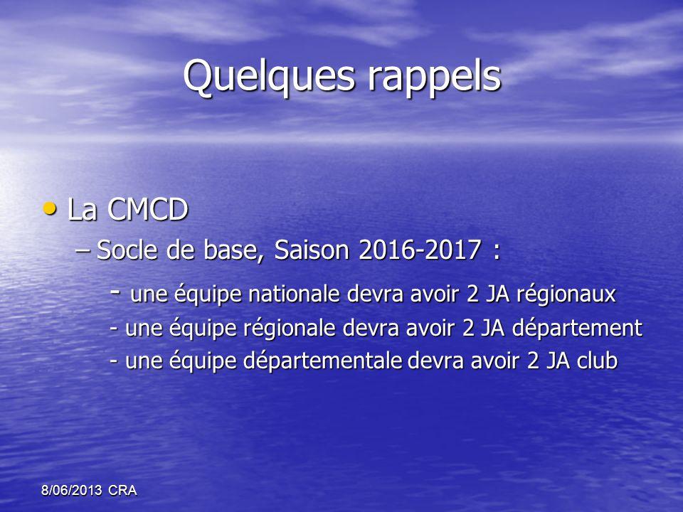 Quelques rappels • La CMCD –Socle de base, Saison 2016-2017 : - une équipe nationale devra avoir 2 JA régionaux - une équipe régionale devra avoir 2 JA département - une équipe départementale devra avoir 2 JA club 8/06/2013 CRA
