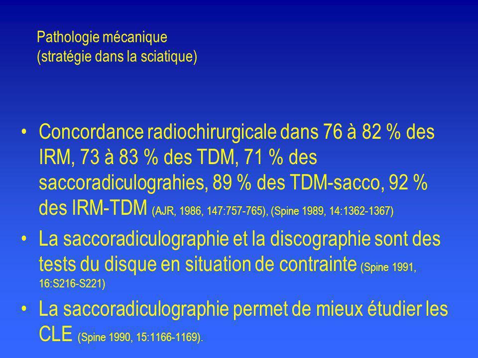 Pathologie mécanique (stratégie dans la sciatique) •Concordance radiochirurgicale dans 76 à 82 % des IRM, 73 à 83 % des TDM, 71 % des saccoradiculogra