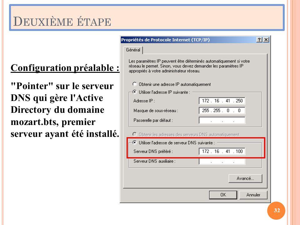 D EUXIÈME ÉTAPE Configuration préalable :