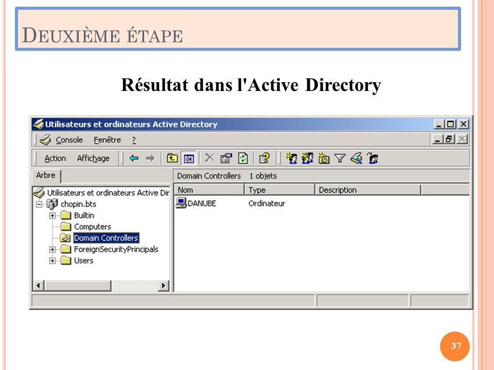 D EUXIÈME ÉTAPE Résultat dans l'Active Directory 37