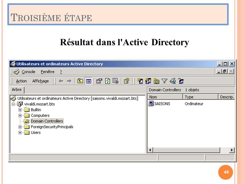 T ROISIÈME ÉTAPE Résultat dans l'Active Directory 48