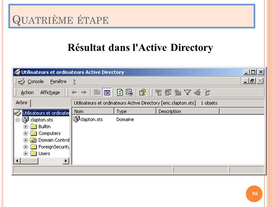 Q UATRIÈME ÉTAPE Résultat dans l'Active Directory 56