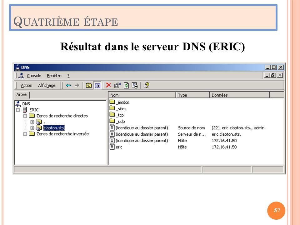 Q UATRIÈME ÉTAPE Résultat dans le serveur DNS (ERIC) 57
