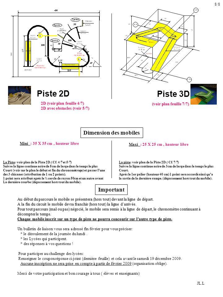 Piste 2D Piste 3D Dimension des mobiles Mini : 35 X 35 cm, hauteur libre Maxi : 25 X 25 cm, hauteur libre La Piste: voir plan de la Piste 2D.( Cf.
