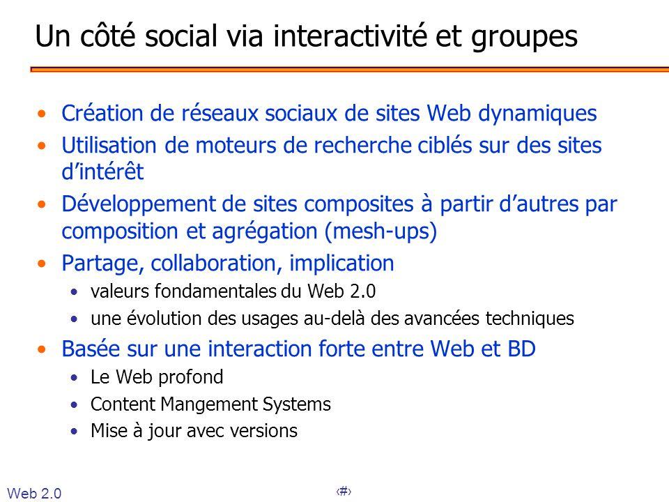 13 Un côté social via interactivité et groupes •Création de réseaux sociaux de sites Web dynamiques •Utilisation de moteurs de recherche ciblés sur de