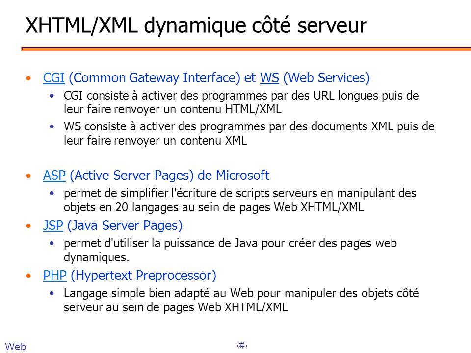 16 XHTML/XML dynamique côté serveur •CGI (Common Gateway Interface) et WS (Web Services)CGI •CGI consiste à activer des programmes par des URL longues