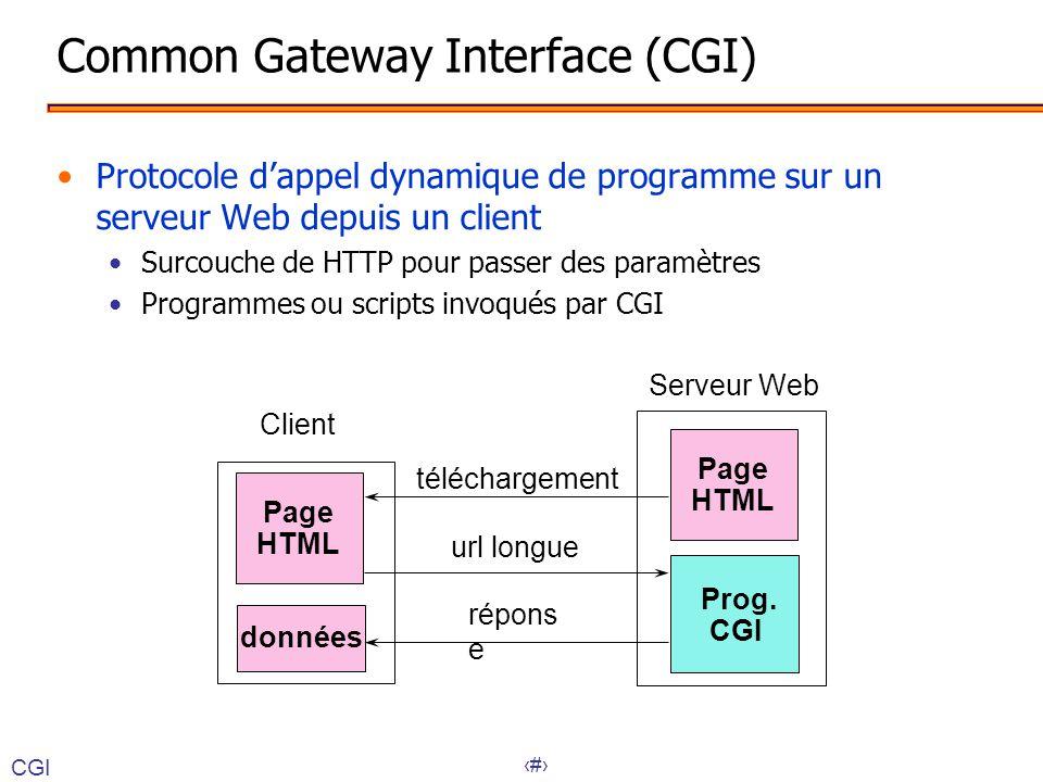 17 Client Serveur Web Prog. CGI Page HTML téléchargement url longue Page HTML données répons e Common Gateway Interface (CGI) •Protocole d'appel dynam