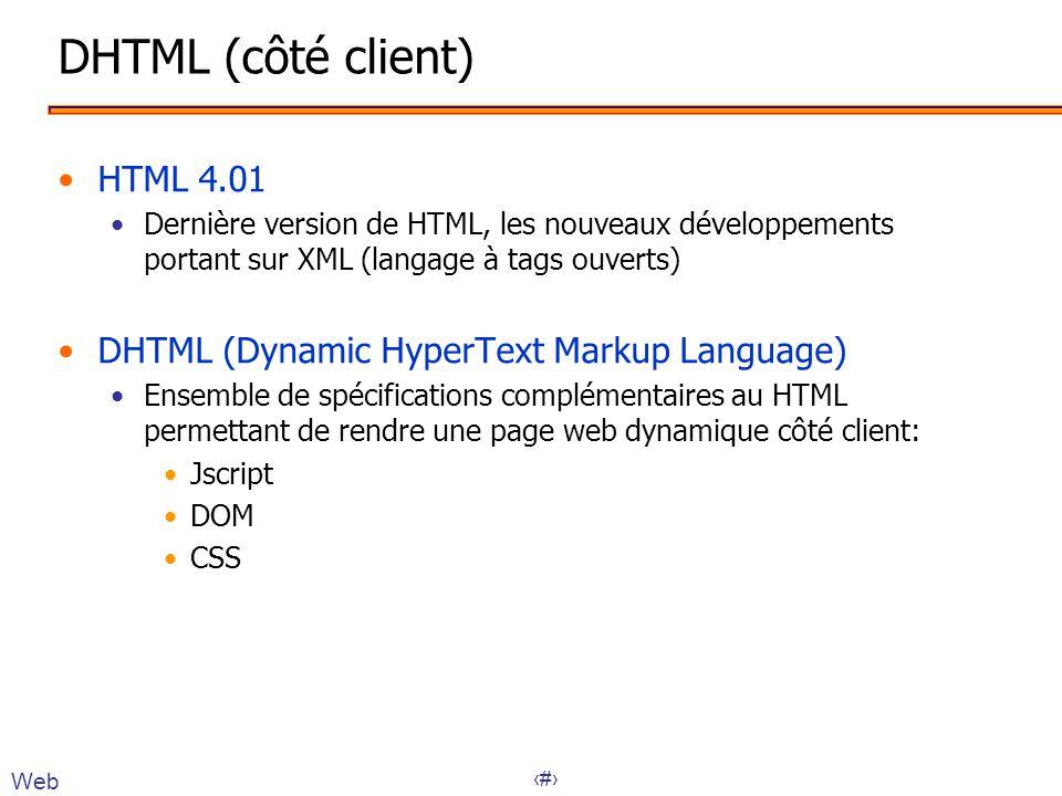 26 Accès BD : JDBC // Connexion Connection con = DriverManager.getConnection(url); // Création d une instruction Statement statement = con.createStatement(); // Exécution d une requete String query = SELECT * FROM Employés ; ResultSet resultset = statement.executeQuery(query); // Traitement des résultats while(resultset.next()) { System.out.println(resultset.getString(2) + + resultset.getString(3)); } // fermeture de la connexion con.close(); } Application Serveur de données Base de données SQL ResultSet JSP