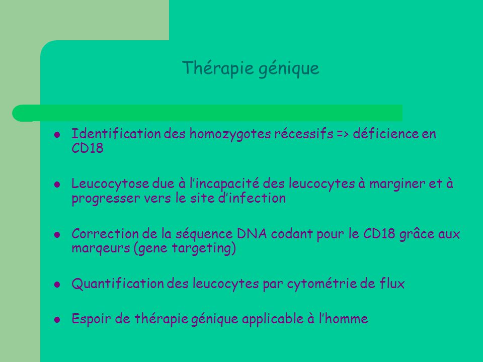 Thérapie génique  Identification des homozygotes récessifs => déficience en CD18  Leucocytose due à l'incapacité des leucocytes à marginer et à prog