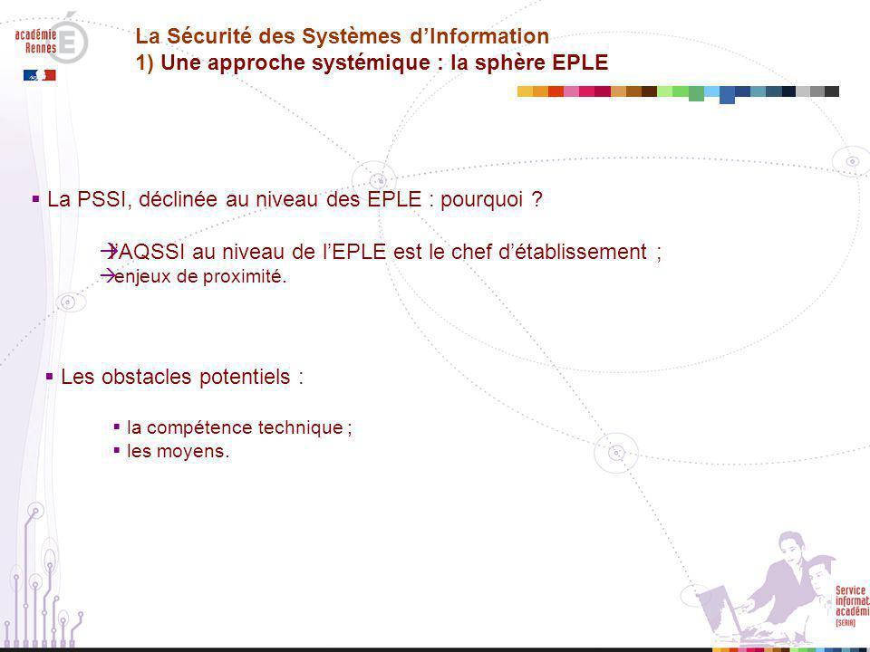  La PSSI, déclinée au niveau des EPLE : pourquoi .