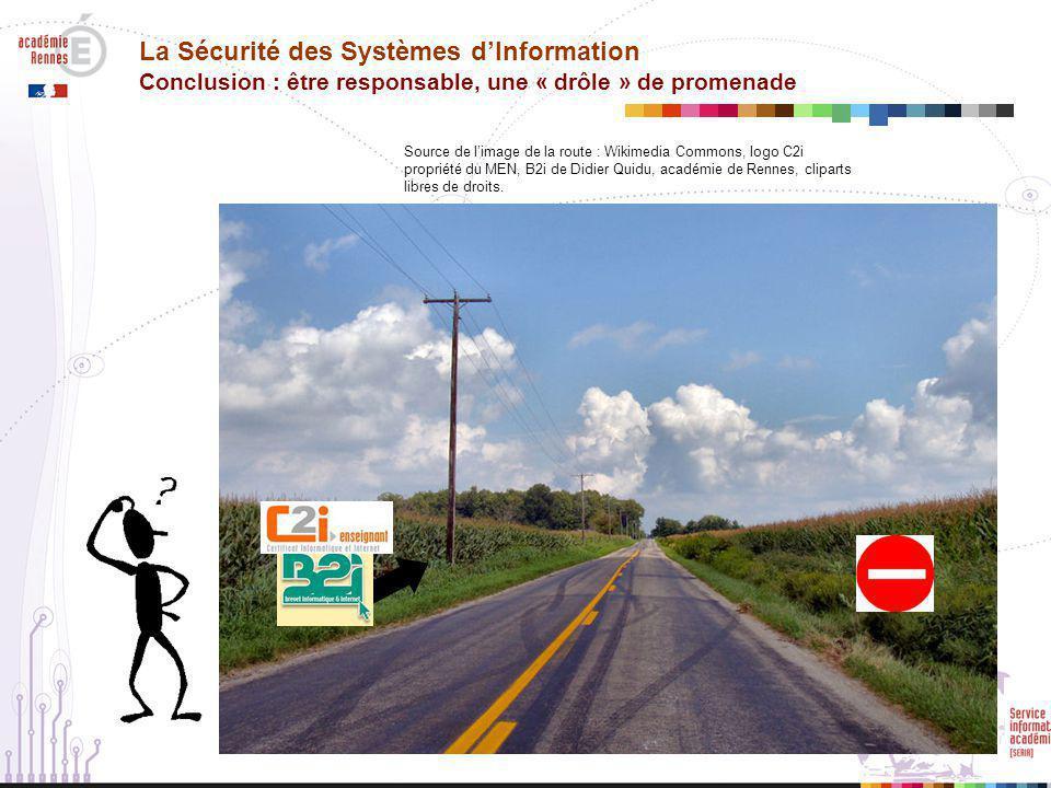 La Sécurité des Systèmes d'Information Conclusion : être responsable, une « drôle » de promenade Source de l'image de la route : Wikimedia Commons, logo C2i propriété du MEN, B2i de Didier Quidu, académie de Rennes, cliparts libres de droits.