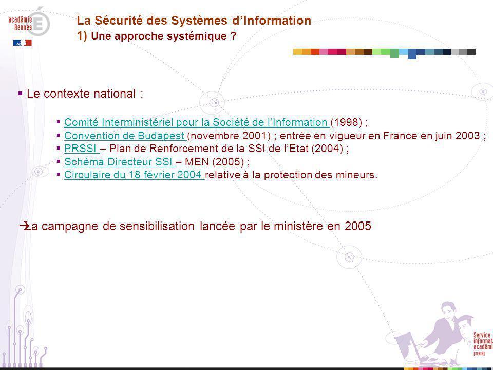  La déclinaison académique : La Sécurité des Systèmes d'Information 1) Une approche systémique .