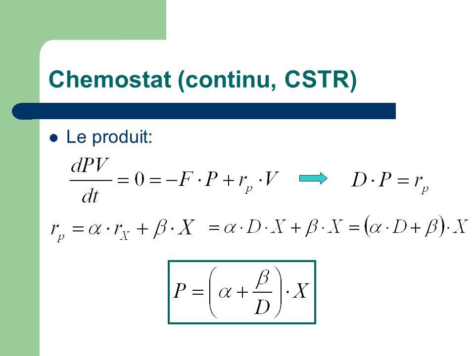 Chemostat (continu, CSTR)  Le produit: