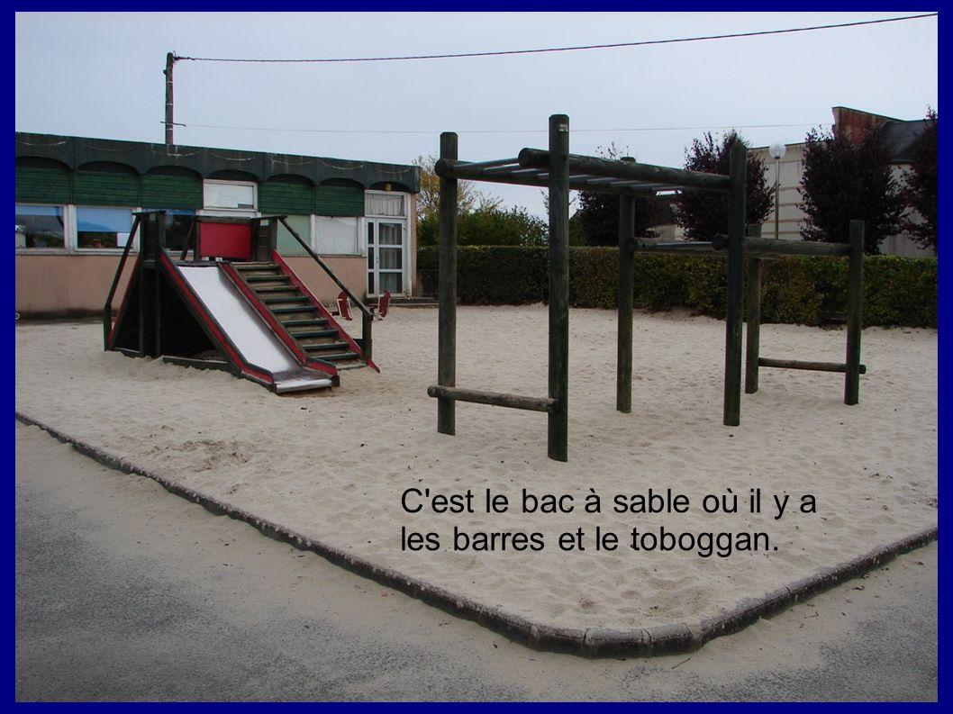 C'est le bac à sable où il y a les barres et le toboggan.