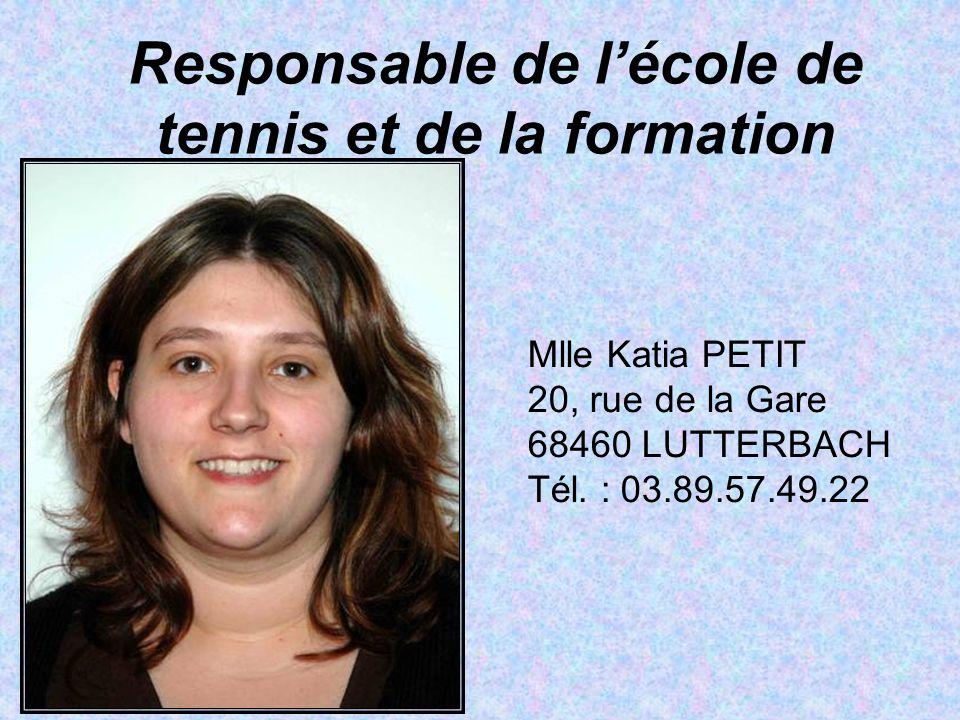 Responsable de l'école de tennis et de la formation Mlle Katia PETIT 20, rue de la Gare 68460 LUTTERBACH Tél. : 03.89.57.49.22