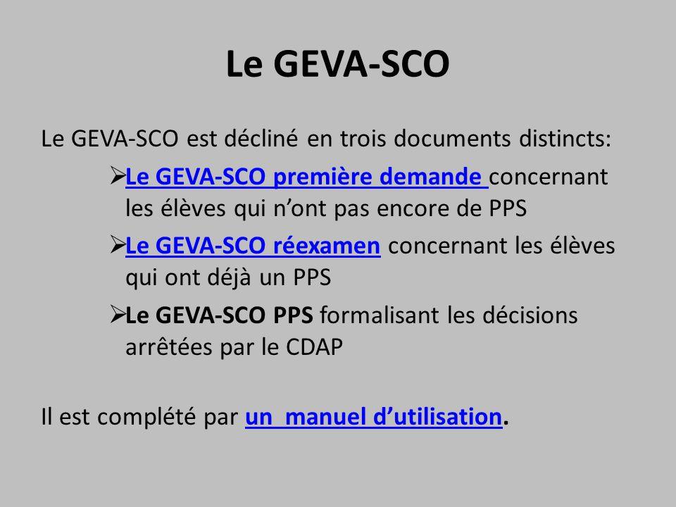 Le GEVA-SCO Le GEVA-SCO est décliné en trois documents distincts:  Le GEVA-SCO première demande concernant les élèves qui n'ont pas encore de PPS Le