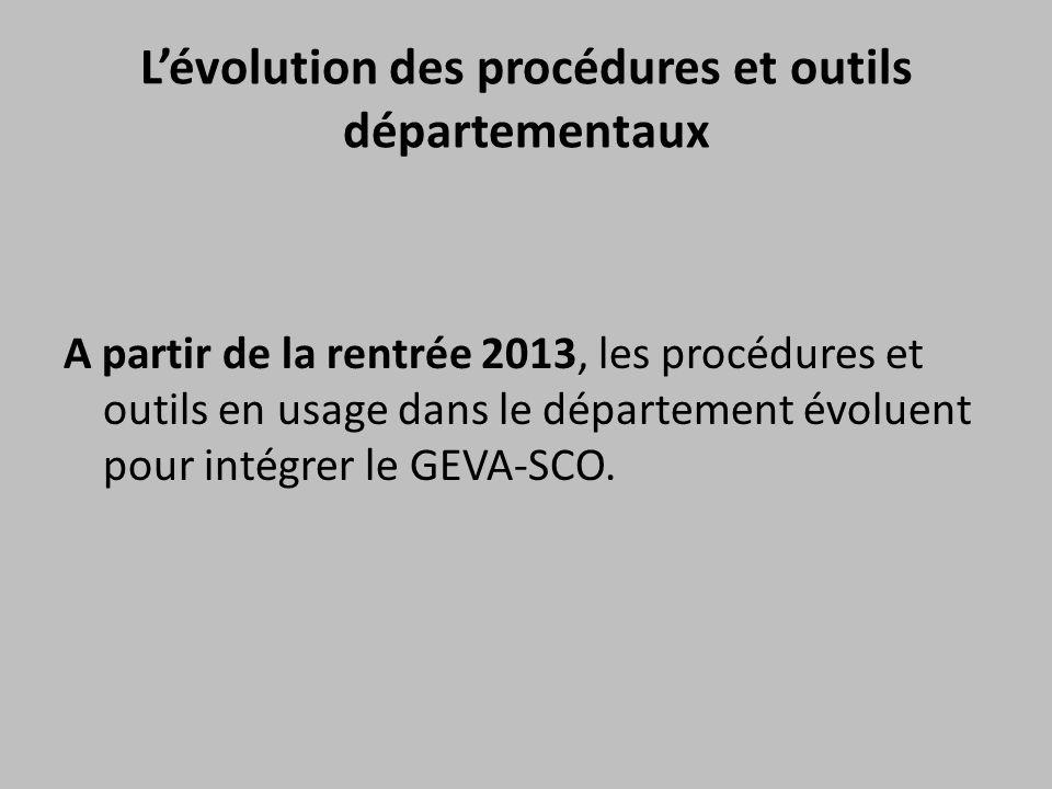 L'évolution des procédures et outils départementaux A partir de la rentrée 2013, les procédures et outils en usage dans le département évoluent pour i