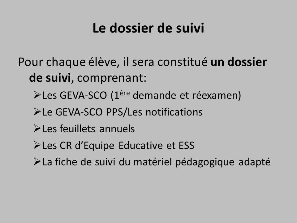 Le dossier de suivi Pour chaque élève, il sera constitué un dossier de suivi, comprenant:  Les GEVA-SCO (1 ère demande et réexamen)  Le GEVA-SCO PPS