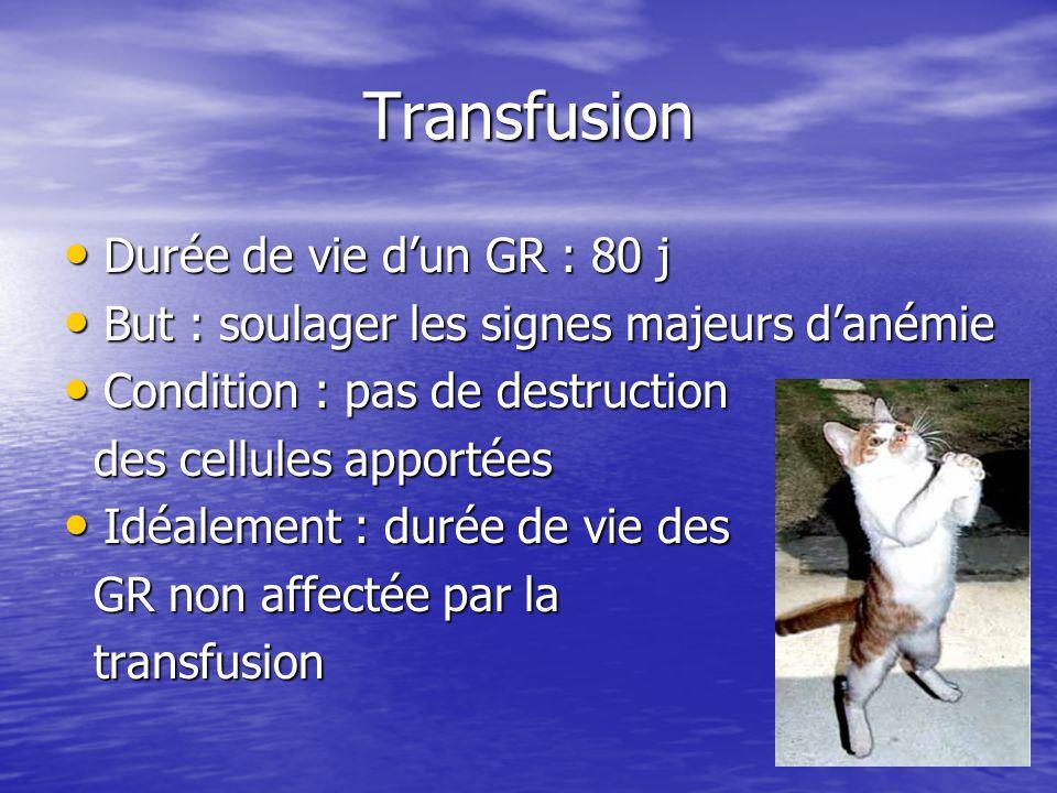 Transfusion • Durée de vie d'un GR : 80 j • But : soulager les signes majeurs d'anémie • Condition : pas de destruction des cellules apportées des cellules apportées • Idéalement : durée de vie des GR non affectée par la GR non affectée par la transfusion transfusion