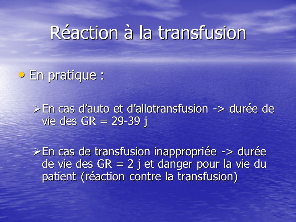 Réaction à la transfusion • En pratique :  En cas d'auto et d'allotransfusion -> durée de vie des GR = 29-39 j  En cas de transfusion inappropriée -> durée de vie des GR = 2 j et danger pour la vie du patient (réaction contre la transfusion)