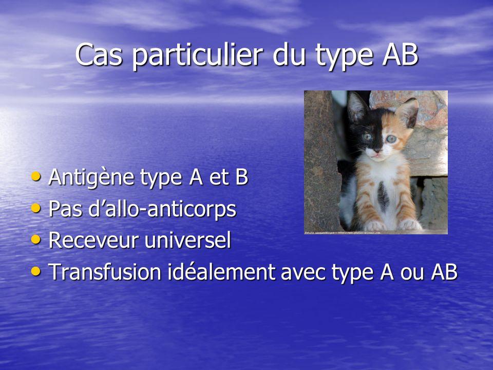 Cas particulier du type AB • Antigène type A et B • Pas d'allo-anticorps • Receveur universel • Transfusion idéalement avec type A ou AB