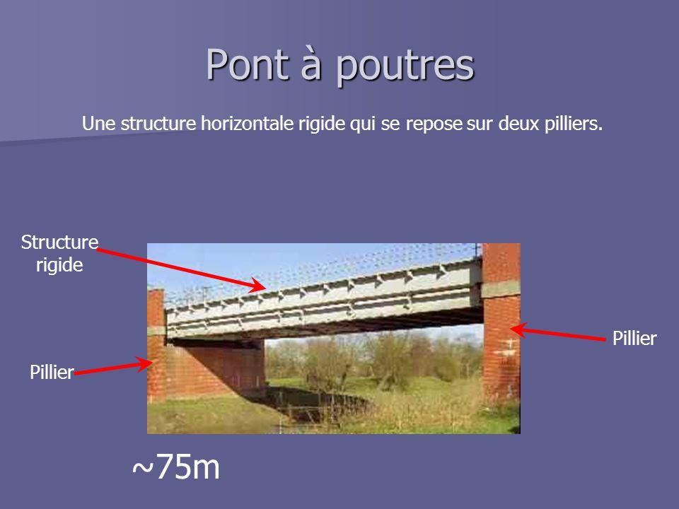 Pont à poutres Une structure horizontale rigide qui se repose sur deux pilliers. Pillier Structure rigide ~75m