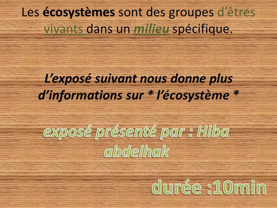 Les écosystèmes sont des groupes d'êtres vivants dans un milieu spécifique. L'exposé suivant nous donne plus d'informations sur * l'écosystème *