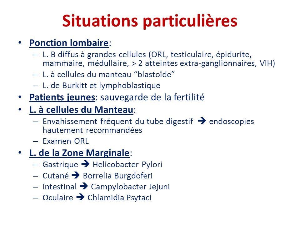 Situations particulières • Ponction lombaire: – L. B diffus à grandes cellules (ORL, testiculaire, épidurite, mammaire, médullaire, > 2 atteintes extr