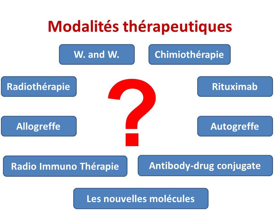 Modalités thérapeutiques W. and W. Chimiothérapie Rituximab Autogreffe Allogreffe Radio Immuno Thérapie Radiothérapie Antibody-drug conjugate ? Les no