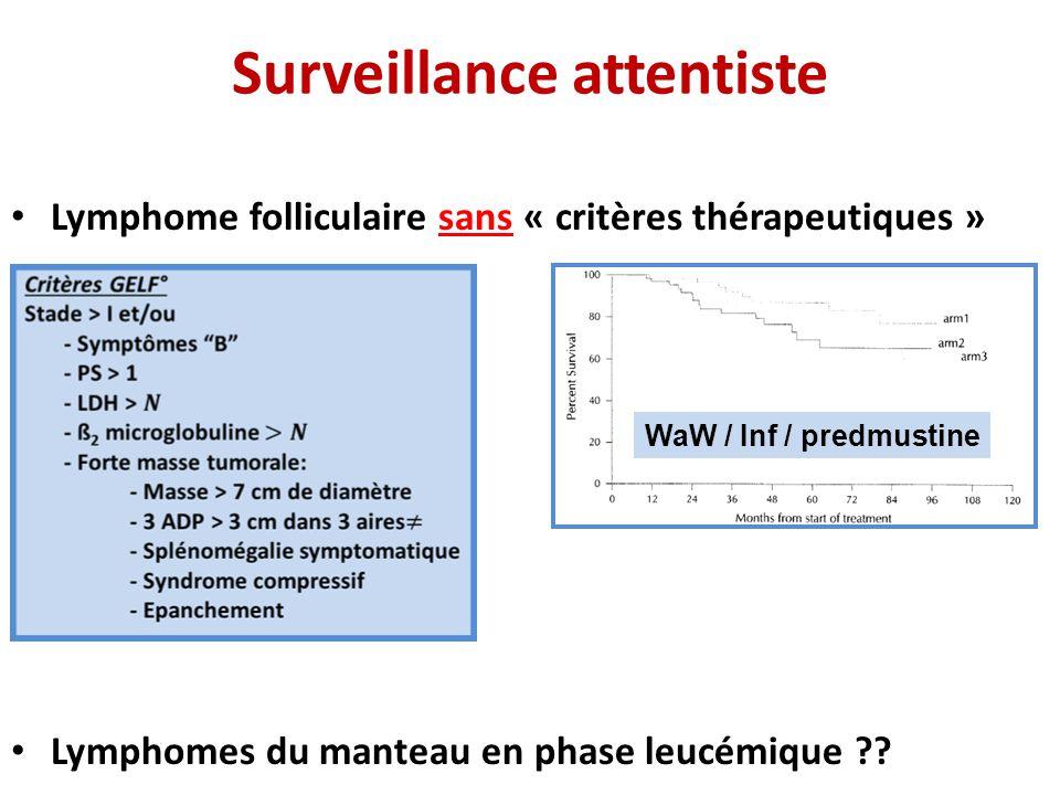 Surveillance attentiste • Lymphome folliculaire sans « critères thérapeutiques » • Lymphomes du manteau en phase leucémique ?? WaW / Inf / predmustine